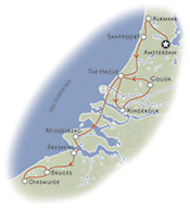 Holland and Belgium Family Biking Map